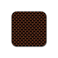 SCALES3 BLACK MARBLE & RUSTED METAL (R) Rubber Coaster (Square)