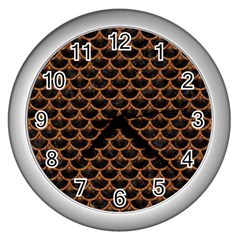 SCALES3 BLACK MARBLE & RUSTED METAL (R) Wall Clocks (Silver)