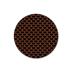 SCALES3 BLACK MARBLE & RUSTED METAL (R) Rubber Round Coaster (4 pack)