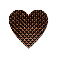 SCALES3 BLACK MARBLE & RUSTED METAL (R) Heart Magnet