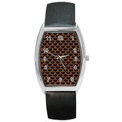 Scales3 Black Marble & Rusted Metal (r) Barrel Style Metal Watch by trendistuff
