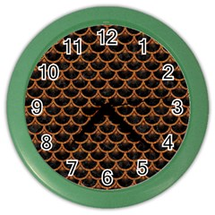 SCALES3 BLACK MARBLE & RUSTED METAL (R) Color Wall Clocks
