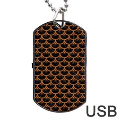 SCALES3 BLACK MARBLE & RUSTED METAL (R) Dog Tag USB Flash (Two Sides)