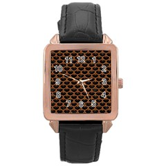 SCALES3 BLACK MARBLE & RUSTED METAL (R) Rose Gold Leather Watch