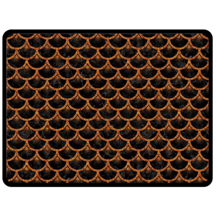 SCALES3 BLACK MARBLE & RUSTED METAL (R) Double Sided Fleece Blanket (Large)