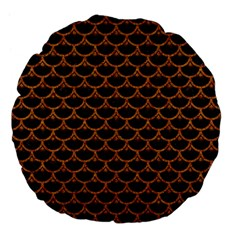SCALES3 BLACK MARBLE & RUSTED METAL (R) Large 18  Premium Flano Round Cushions