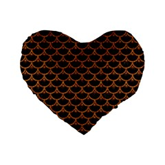 Scales3 Black Marble & Rusted Metal (r) Standard 16  Premium Flano Heart Shape Cushions by trendistuff
