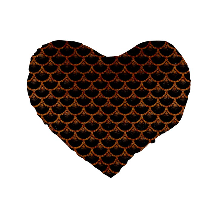 SCALES3 BLACK MARBLE & RUSTED METAL (R) Standard 16  Premium Flano Heart Shape Cushions