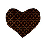 SCALES3 BLACK MARBLE & RUSTED METAL (R) Standard 16  Premium Flano Heart Shape Cushions Back