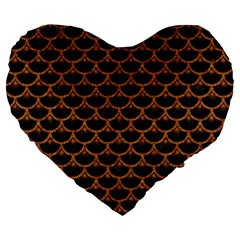SCALES3 BLACK MARBLE & RUSTED METAL (R) Large 19  Premium Flano Heart Shape Cushions