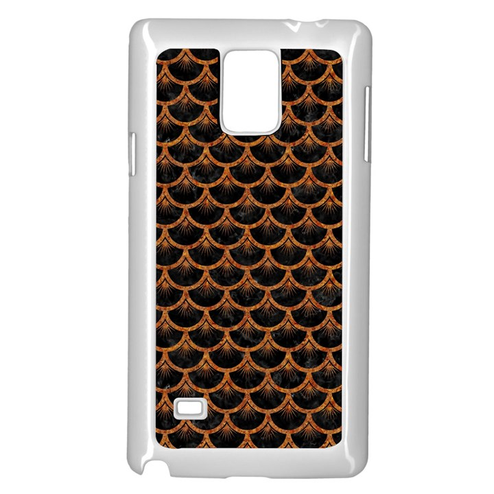 SCALES3 BLACK MARBLE & RUSTED METAL (R) Samsung Galaxy Note 4 Case (White)