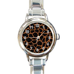 Skin1 Black Marble & Rusted Metal Round Italian Charm Watch by trendistuff