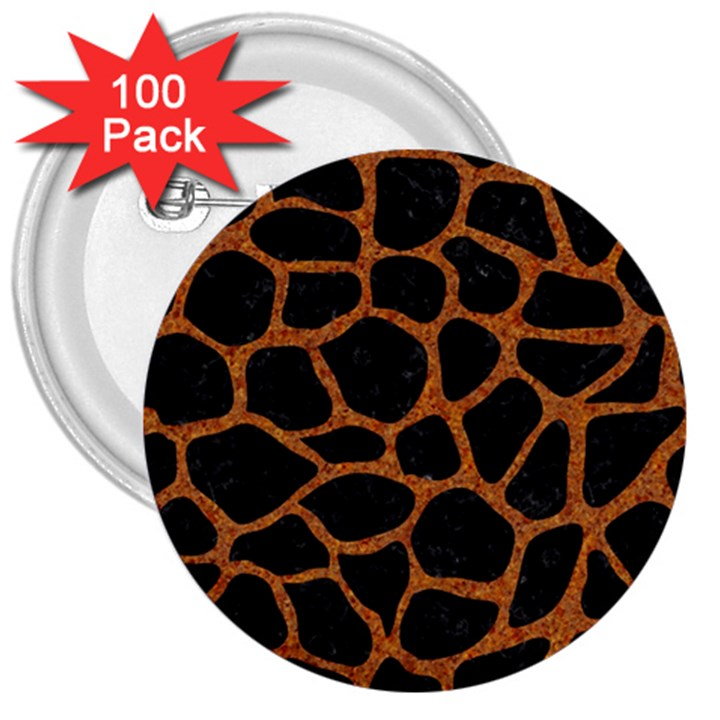 SKIN1 BLACK MARBLE & RUSTED METAL 3  Buttons (100 pack)