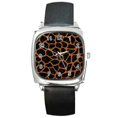 Skin1 Black Marble & Rusted Metal Square Metal Watch