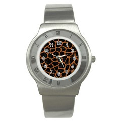 Skin1 Black Marble & Rusted Metal Stainless Steel Watch by trendistuff
