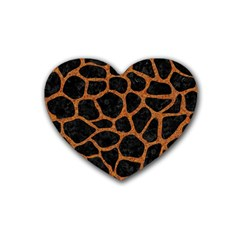 Skin1 Black Marble & Rusted Metal Rubber Coaster (heart)