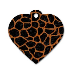 Skin1 Black Marble & Rusted Metal Dog Tag Heart (two Sides) by trendistuff