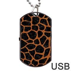 Skin1 Black Marble & Rusted Metal Dog Tag Usb Flash (one Side) by trendistuff