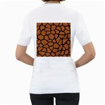 SKIN1 BLACK MARBLE & RUSTED METAL (R) Women s T-Shirt (White) (Two Sided) Back