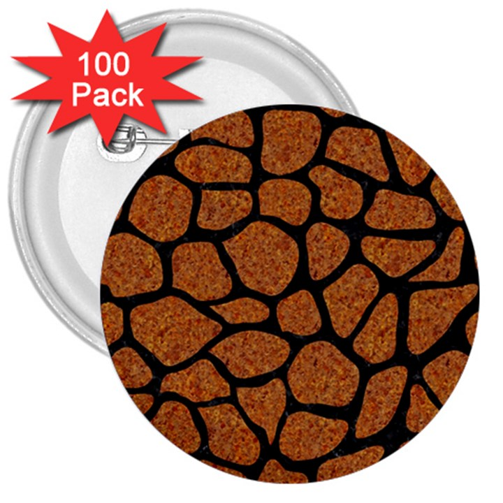 SKIN1 BLACK MARBLE & RUSTED METAL (R) 3  Buttons (100 pack)