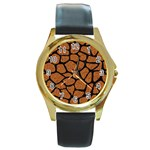 SKIN1 BLACK MARBLE & RUSTED METAL (R) Round Gold Metal Watch Front