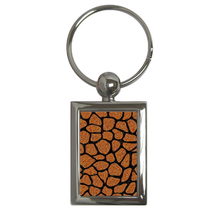 SKIN1 BLACK MARBLE & RUSTED METAL (R) Key Chains (Rectangle)