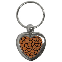Skin1 Black Marble & Rusted Metal (r) Key Chains (heart)  by trendistuff