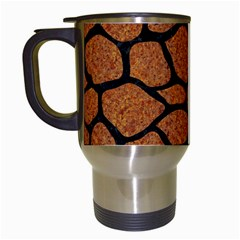 Skin1 Black Marble & Rusted Metal (r) Travel Mugs (white)