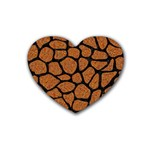 SKIN1 BLACK MARBLE & RUSTED METAL (R) Rubber Coaster (Heart)  Front