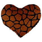 SKIN1 BLACK MARBLE & RUSTED METAL (R) Large 19  Premium Flano Heart Shape Cushions Back