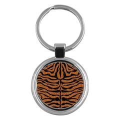 Skin2 Black Marble & Rusted Metal Key Chains (round)  by trendistuff