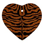 SKIN2 BLACK MARBLE & RUSTED METAL Heart Ornament (Two Sides) Back
