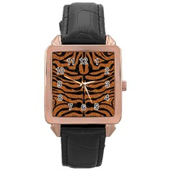 Skin2 Black Marble & Rusted Metal Rose Gold Leather Watch  by trendistuff