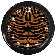 Skin2 Black Marble & Rusted Metal (r) Wall Clocks (black) by trendistuff