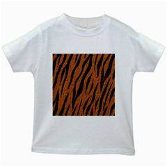 Skin3 Black Marble & Rusted Metal Kids White T Shirts