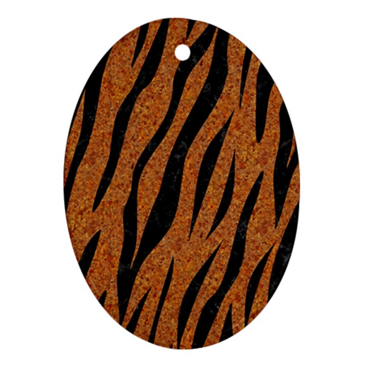 SKIN3 BLACK MARBLE & RUSTED METAL Oval Ornament (Two Sides)