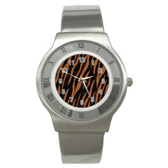 Skin3 Black Marble & Rusted Metal (r) Stainless Steel Watch by trendistuff