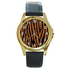 Skin4 Black Marble & Rusted Metal Round Gold Metal Watch by trendistuff