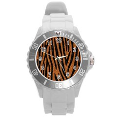 Skin4 Black Marble & Rusted Metal (r) Round Plastic Sport Watch (l) by trendistuff