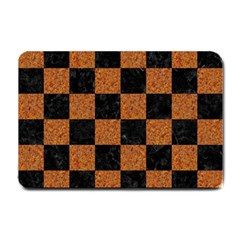 Square1 Black Marble & Rusted Metal Small Doormat  by trendistuff