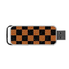 Square1 Black Marble & Rusted Metal Portable Usb Flash (one Side) by trendistuff