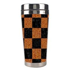 Square1 Black Marble & Rusted Metal Stainless Steel Travel Tumblers by trendistuff