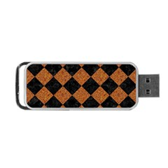 Square2 Black Marble & Rusted Metal Portable Usb Flash (one Side) by trendistuff