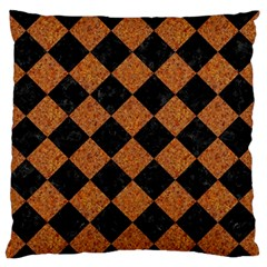 Square2 Black Marble & Rusted Metal Standard Flano Cushion Case (one Side) by trendistuff