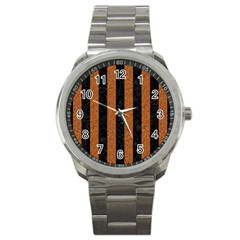 Stripes1 Black Marble & Rusted Metal Sport Metal Watch by trendistuff