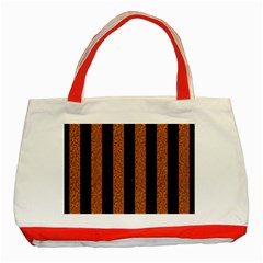 Stripes1 Black Marble & Rusted Metal Classic Tote Bag (red) by trendistuff