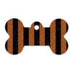 STRIPES1 BLACK MARBLE & RUSTED METAL Dog Tag Bone (Two Sides) Front