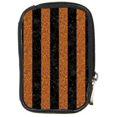 Stripes1 Black Marble & Rusted Metal Compact Camera Cases by trendistuff