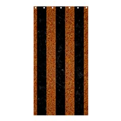 Stripes1 Black Marble & Rusted Metal Shower Curtain 36  X 72  (stall)  by trendistuff