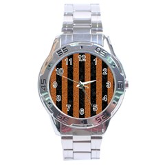 Stripes1 Black Marble & Rusted Metal Stainless Steel Analogue Watch by trendistuff